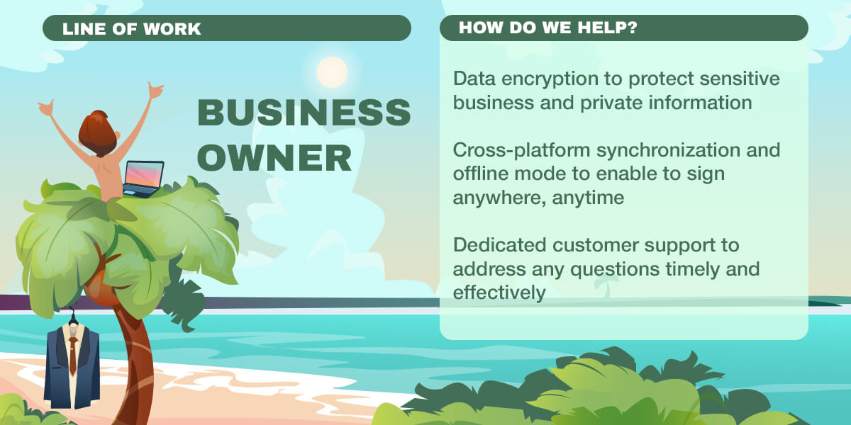 Infographics: Data encryption, Cross-platform synchronization, Dedicated customer support