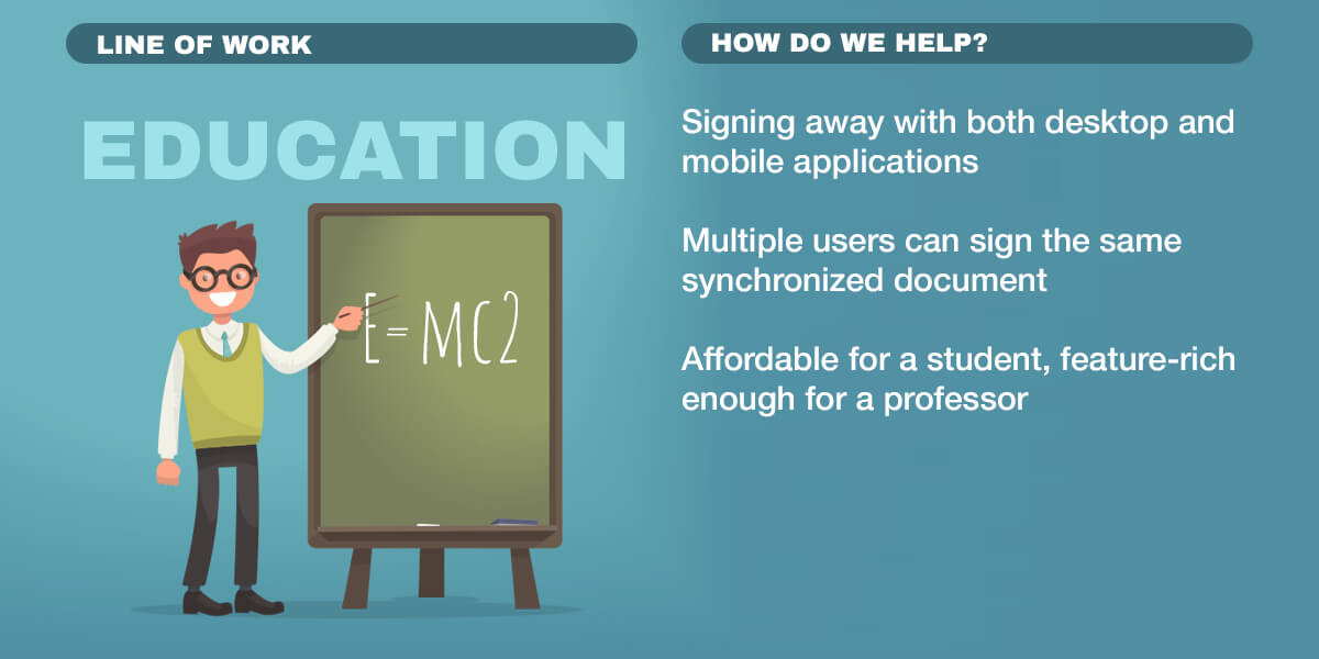 Infographics: Signing away with both desktop and mobile applications, Multiple users, Affordable for a student