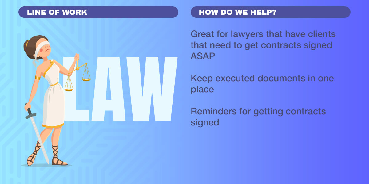 Infographics: Great for lawyers that have clients that need to get contracts signed ASAP, Keep executed documents in one place, Reminders