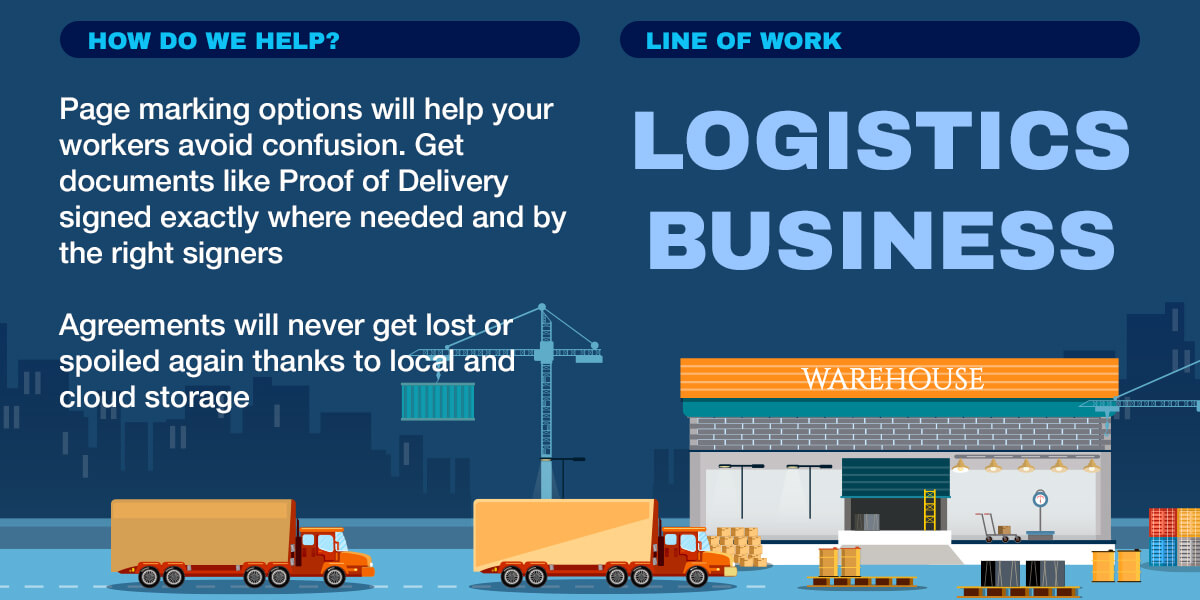Infographics: Page marking options, Proof of Delivery signed, Agreements will never get lost or spoiled again