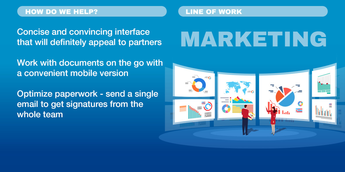 Infographics: Concise and convincing interface, Work with documents on the go, Optimize paperwork