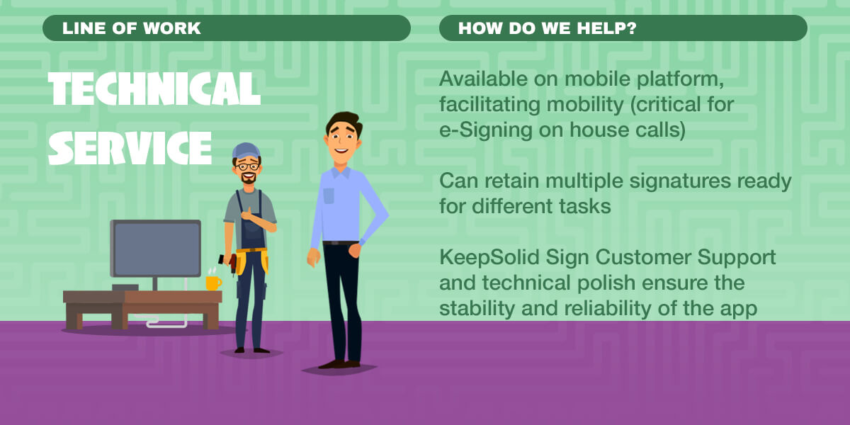 Infographics: Available on mobile platform, retain multiple signatures, KeepSolid Sign Customer Support