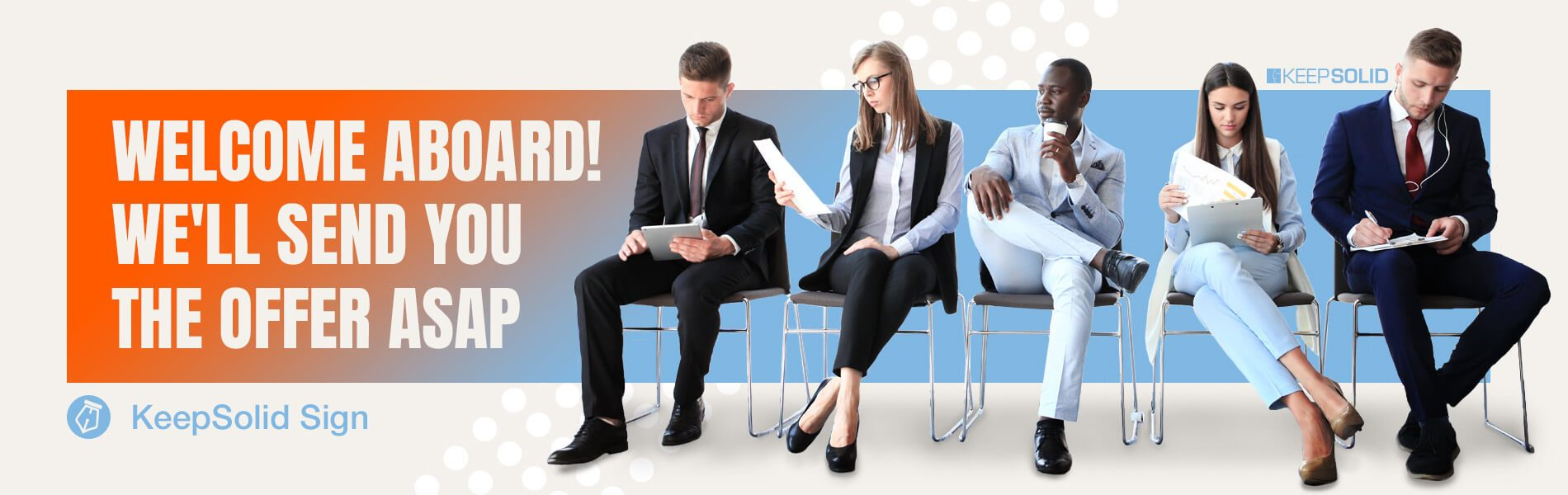 Candidates for job interview at HR and eSigning offers.