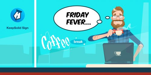 Manager Using Laptop Sitting Hold Cup Coffee Break thinking how electronic signature apps help finish Friday tasks